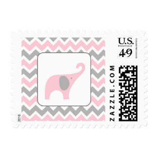 Pink and Grey Elephant Chevron Girl Baby Shower Postage Stamp