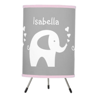 Pink and grey elephant lamp for nursery baby room