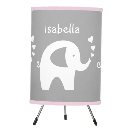 Pink And Grey Elephant Lamp For Nursery Baby Room Zazzle Com