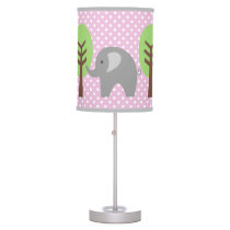 Pink and grey elephant polka dots nursery lamp