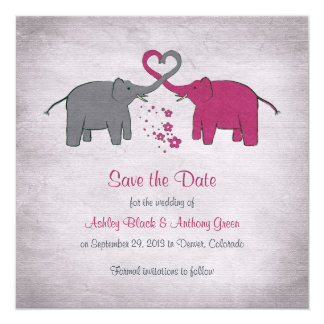 Pink and Grey Elephant Wedding Save the Date 5.25x5.25 Square Paper Invitation Card