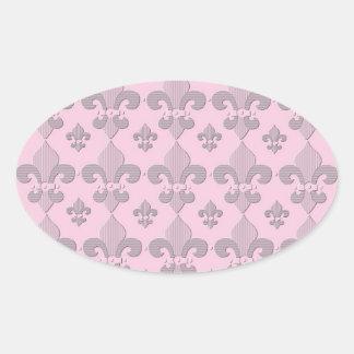 Pink and Grey Fleur de Lys Design Sticker