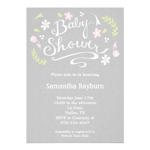 Pink and Grey Floral Baby Shower Invitation Custom Announcements