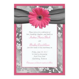 Pink and Grey Floral Damask Wedding Invitation