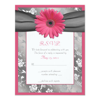 Pink and Grey Floral Damask Wedding Reply Card Personalized Announcement
