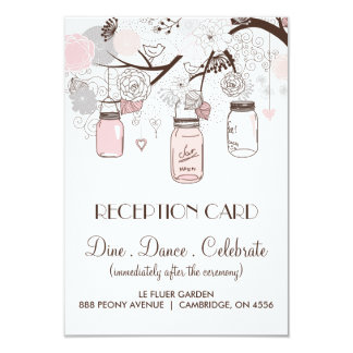 Pink and Grey Floral Mason Jars Reception Card