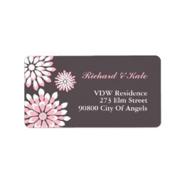 Pink and Grey Floral Pattern Address Label