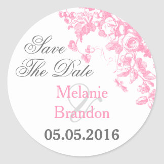 Pink and grey floral Save The Date stickers