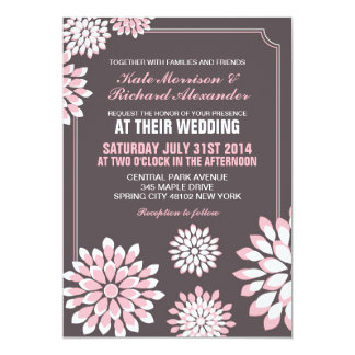 Pink and Grey Floral Wedding Invitation