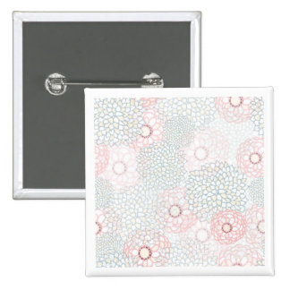 Pink and Grey Flower Burst Design 2 Inch Square Button