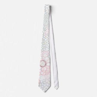 Pink and Grey Flower Burst Design Tie