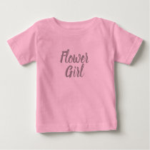 Pink and Grey Flower Girl Bridal Party Baby T-Shirt