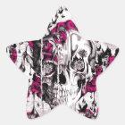 Pink and grey grunge melting skull star sticker