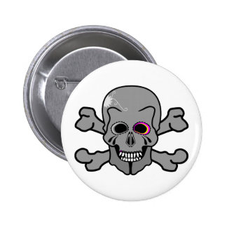 Pink and grey jolly roger 2 inch round button