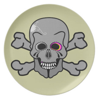 Pink and grey jolly roger dinner plate