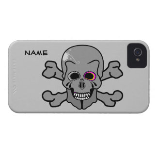 Pink and grey jolly roger iPhone 4 Case-Mate cases