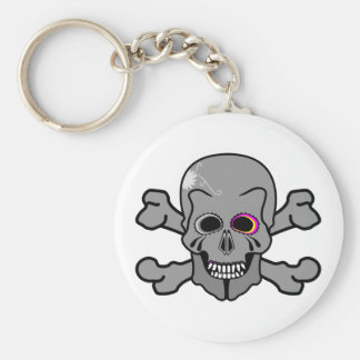 Pink and grey jolly roger keychain