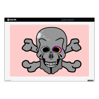 """Pink and grey jolly roger skins for 17"""" laptops"""