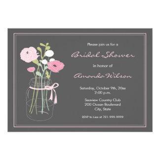 Pink and Grey Mason Jar Bridal Shower Invitation
