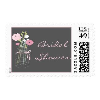 Pink and Grey Mason Jar Bridal Shower Stamps