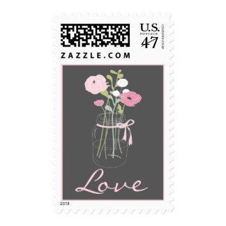 Pink and Grey Mason Jar Love Stamps