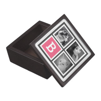 Pink and Grey Monogram with 3 Instagram Pictures Gift Box