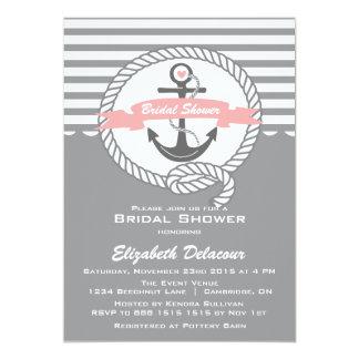 "Pink and Grey Nautical Bridal Shower Invitation 5"" X 7"" Invitation Card"