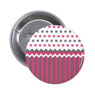 Pink and Grey Pattern 2 Inch Round Button