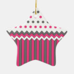 Pink and Grey Pattern Christmas Ornaments