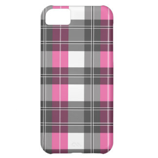 Pink and Grey Plaid Design iPhone 5C Cover