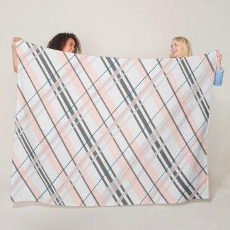 Pink and Grey Plaid Fleece Blanket