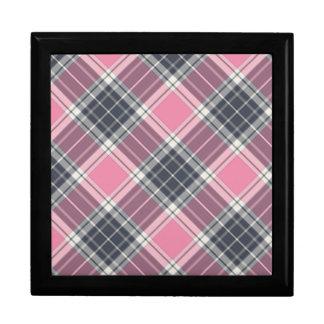 Pink and Grey Plaid Pattern Keepsake Box