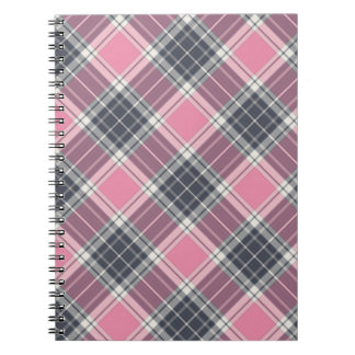 Pink and Grey Plaid Pattern Spiral Notebook