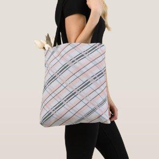 Pink And Grey Plaid Tote Bag