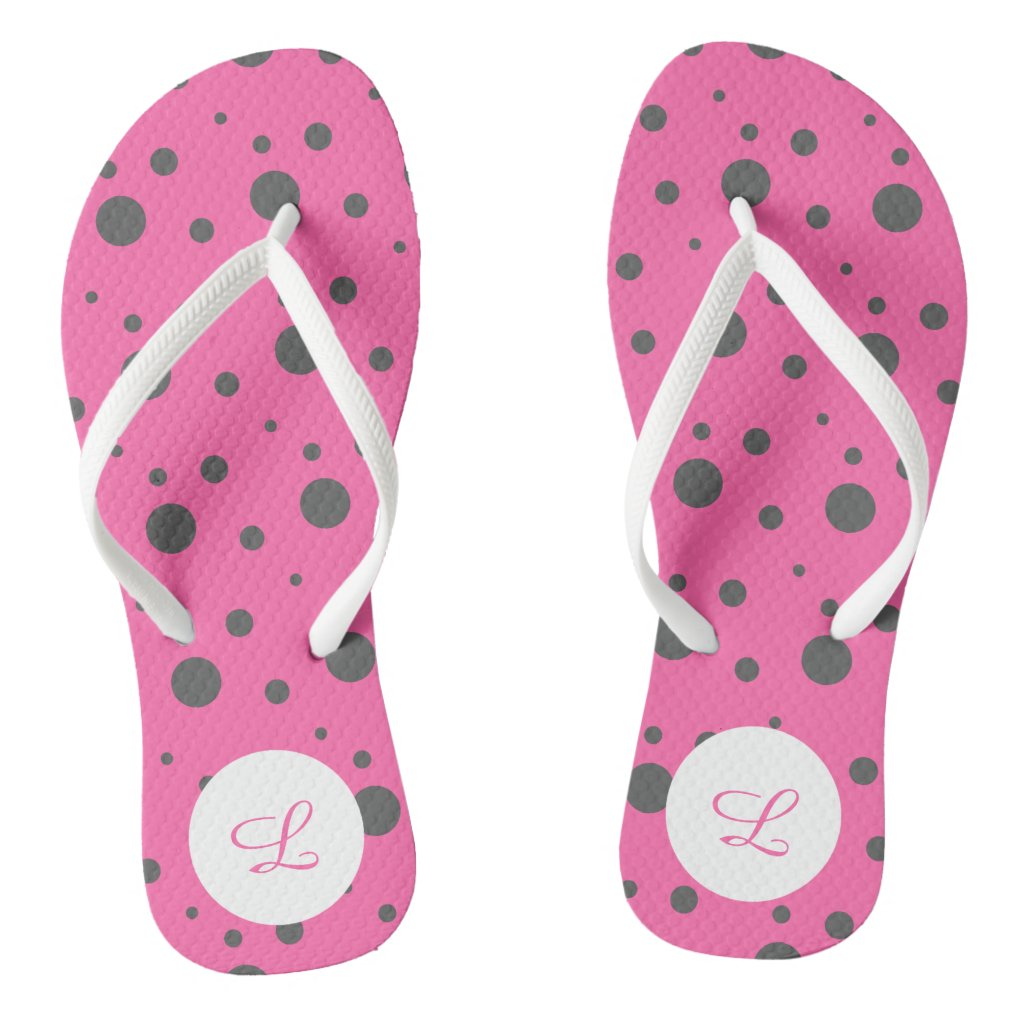 Pink and Grey Polka Dot Pattern Flip Flops