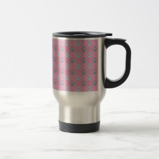 Pink and grey puppy paw prints 15 oz stainless steel travel mug