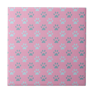Pink and grey puppy paw prints tiles