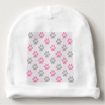 Pink and grey puppy paws pattern baby beanie