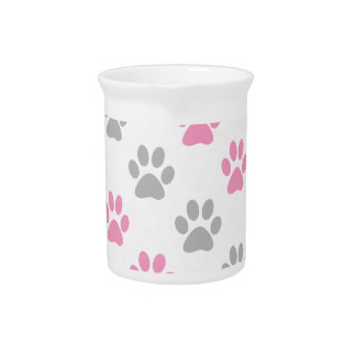 Pink and grey puppy paws pattern pitcher