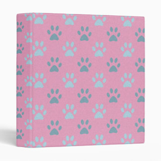 Pink and grey puppy paws print binder