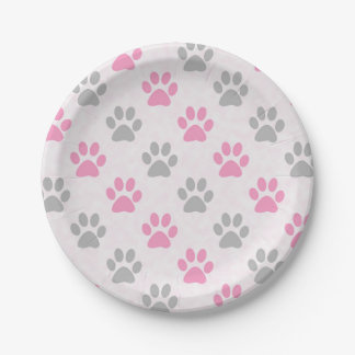 Pink and grey puppy paws print paper plate