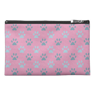 Pink and grey puppy paws print travel bag