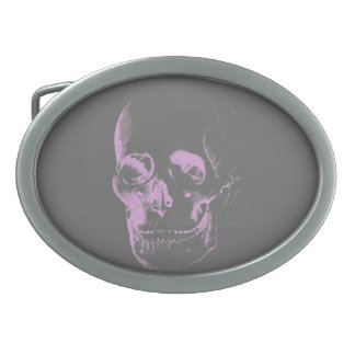 Pink and Grey Skull Oval Belt Buckle