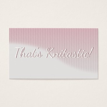 Professional Business Pink and Grey Soft Wave Graphic Stitch Knitting Business Card