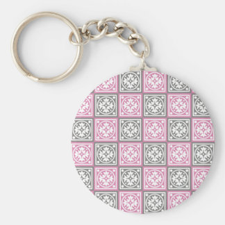 Pink and grey squares pattern keychain