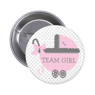 Pink and Grey Team Girl Baby Carriage Shower Pinback Button