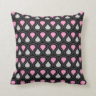 Pink And Grey Teardrop Pattern On Black Throw Pillows