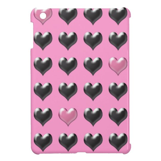 Pink and grey valentine hearts pattern iPad mini cases