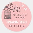 Pink and Grey Vintage Bird Cage Wedding Sticker