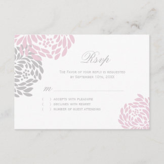 Pink and Grey Wedding RSVP Cards